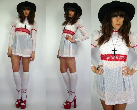 Vintage 60S/70S LOLITA Wht Red POLKA DOT Princess Slv BABYDOLL Sheer MINI Dress MOD