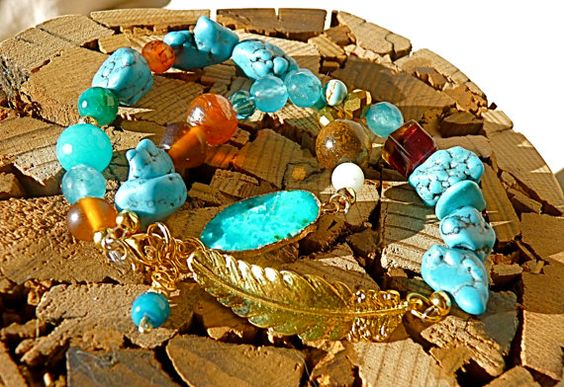 Boho Turquoise Bracelet authentic turquoise feather by FunNFiber