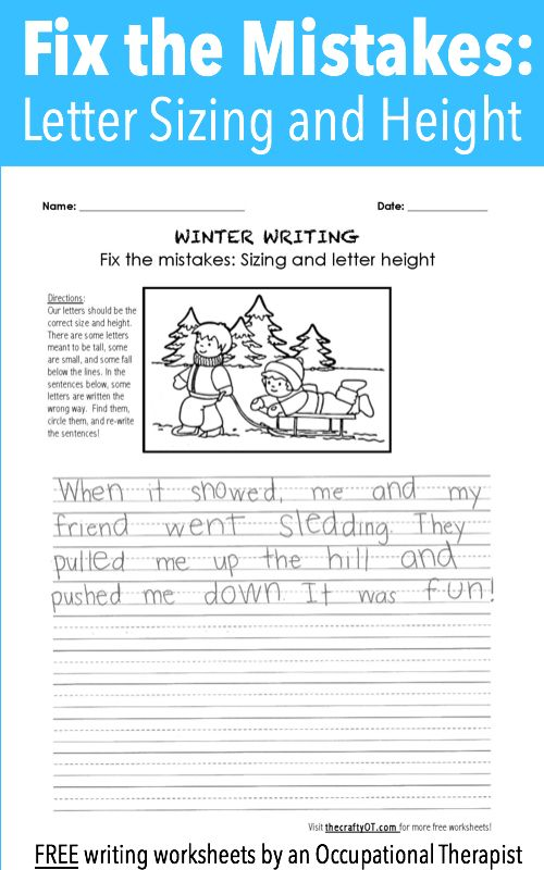 Winter Writing Fix The Mistakes Occupational Therapy Handwriting Winter Writing Handwriting Analysis