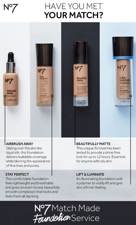 It all begins with your match! We measured  the skin tones of nearly 3,000 women to develop our range of #No7MatchMade skin-true foundations. Choose from our range of finishes for a flawless look and feel.  Products featured: No7 Beautifully Matte Foundation: $14.99 NEW No7 Stay Perfect Foundation: $15.99  No7 Lift & Luminate Foundation: $15.99 NEW No7 Airbrush Away Foundation: $17.99
