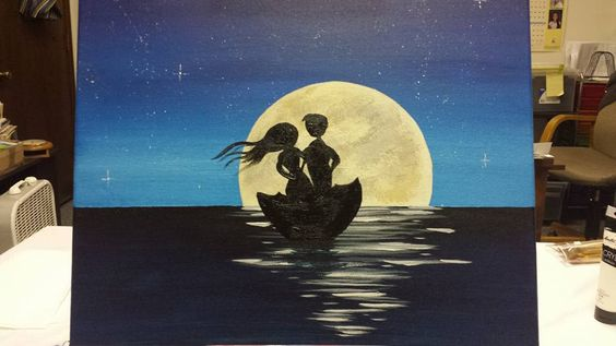 Brad sails with heart by a moon painting