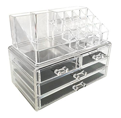 Sodynee Jewelry And Cosmetic Storage 2 Piece Acrylic Makeup Organizer Www Homedecorti Makeup Storage Drawers Clear Plastic Storage Containers Plastic Dresser