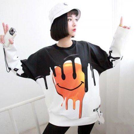 Hip hop emoji pullover sweatshirt for girls