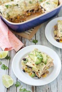 Vegetable Enchilada Casserole with Salsa Verde - Cookie Monster Cooking