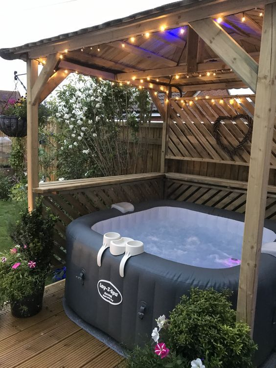 Pin By Kristine Folds On Hot Tub Inspiration Hot Tub Backyard