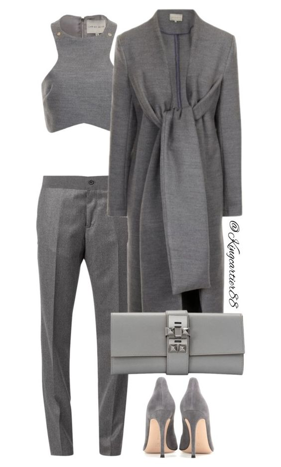 """""""GRAY AREA"""" by jusgram88 ❤ liked on Polyvore featuring Gianvito Rossi, Lavish Alice and Hermès"""