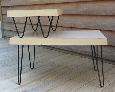 Formica side table with hairpin legs