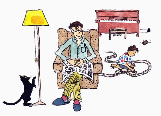 Tom and his piano teacher, opening illustration for book commissioned by beyondabook