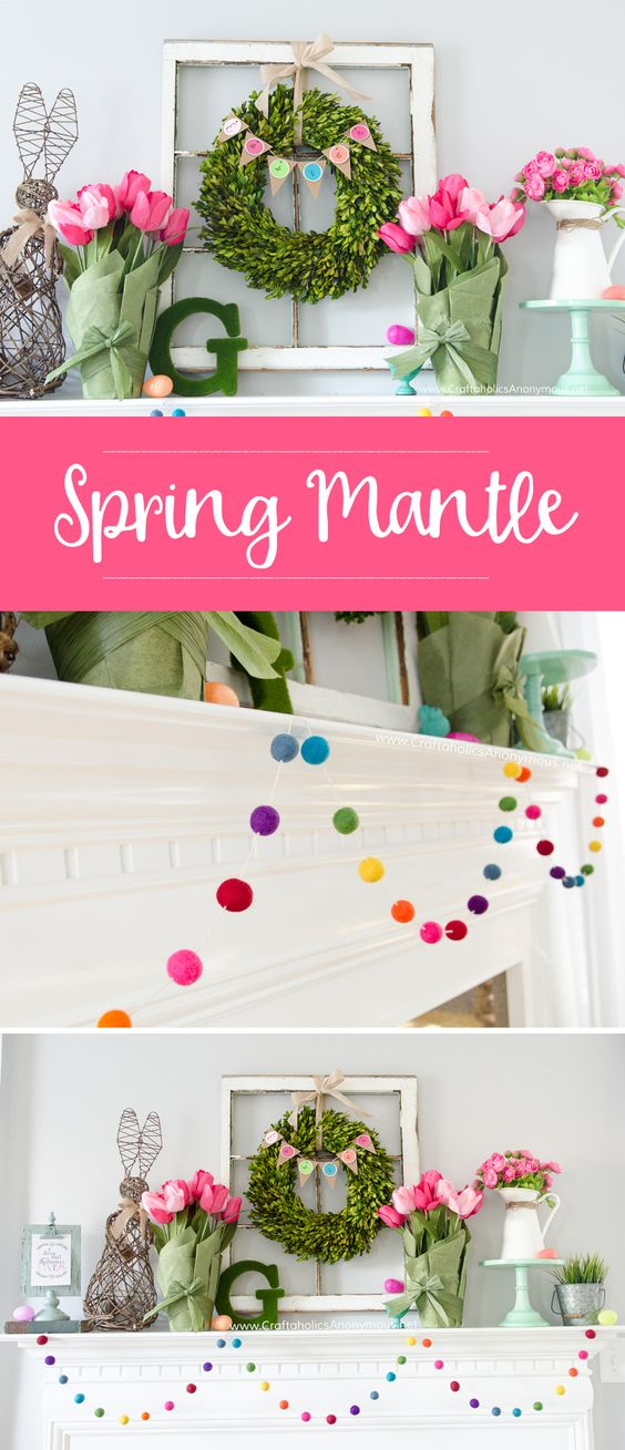 DIY Spring Mantle decor. Love that rainbow felt ball garland! MichaelsMakers Craftaholics Anonymous