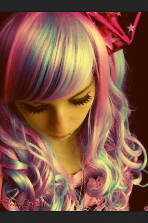 Cotton Candy Hair!  It's kinda cool looking...although I would not try to pull it off...;-)
