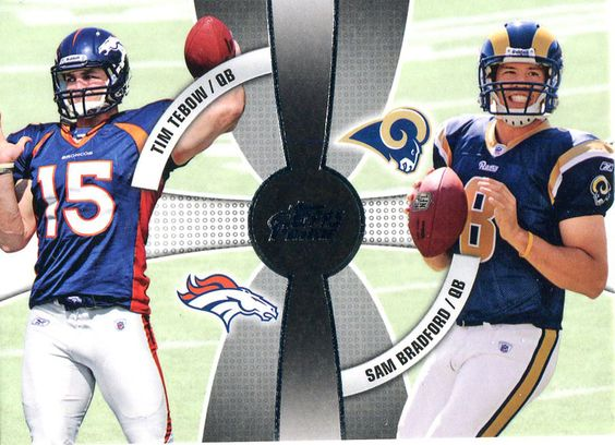 Tim Tebow & Sam Bradford Unsigned 2010 Topps Card