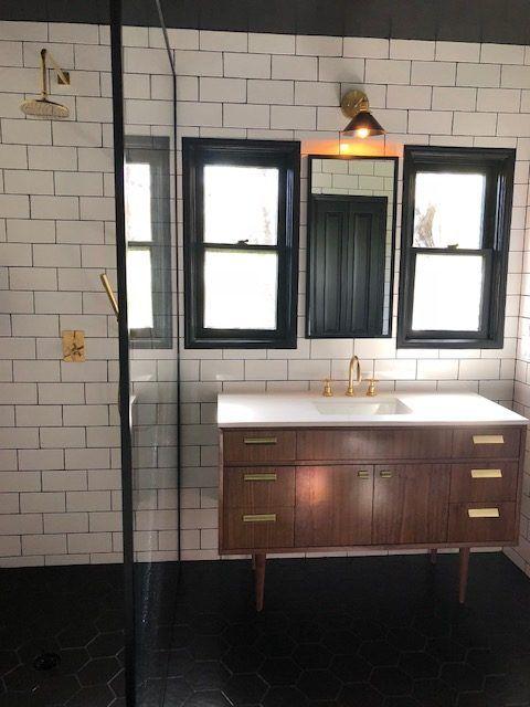 48 Walnut Single Sink Vanity W Brass Hardware Mid Century Bathroom Vanity Mid Century Modern Bathroom Custom Bathroom Vanity