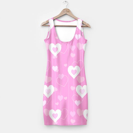 Pink & White Hearts Simple Dress, Live Heroes