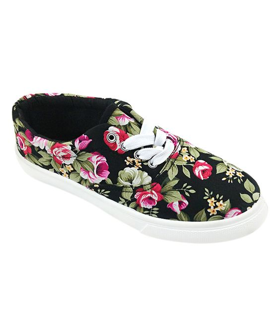 Another great find on #zulily! Ositos Shoes Black & Pink Floral Sneaker by Ositos Shoes #zulilyfinds