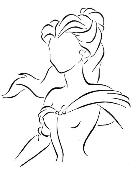 Line Drawing Disney : Belle line art by kezzamin viantart on deviantart