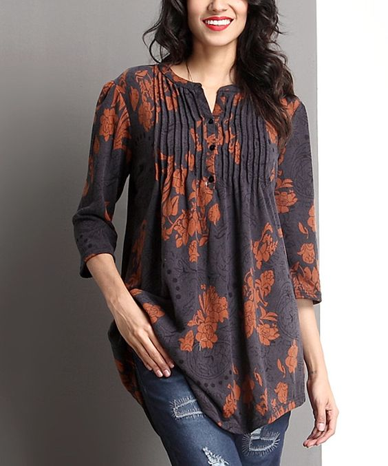 Love this Charcoal Floral Notch Neck Pin Tuck Tunic by Reborn Collection on #zulily! #zulilyfinds