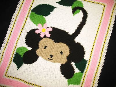 Crochet Patterns-JUNGLE MONKEY BABY GIRL Afghan Pattern ...