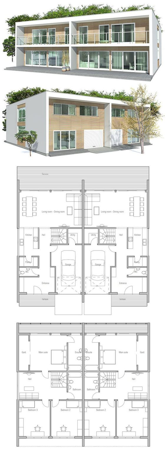 Duplex house a house divided into two apartments with a for Duplex project homes