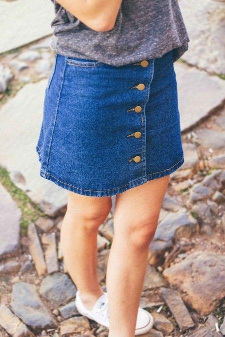 Saia Jeans Botões - Pink Vanilla:
