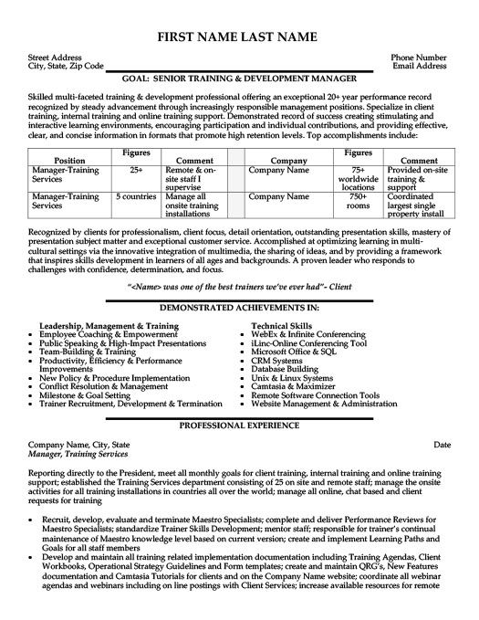 Employee Training Manager Resume Template Premium Resume Samples Example Training Manager Human Resources Resume Resume Examples