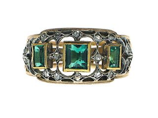 Emerald and Diamond Estate Art Deco Ring in 14K