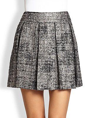 Alice + Olivia Earla Pleated Plaid Skirt