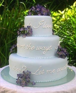 How To Have The Best Literary Wedding Ever // Literary cake --- this Elizabeth Barrett Browning's one is stunning.