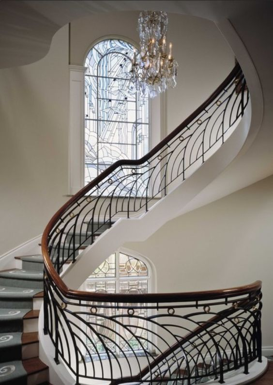 Gorgeous Art Deco stairs. I doubt I'd ever have a house that could inhabit this…