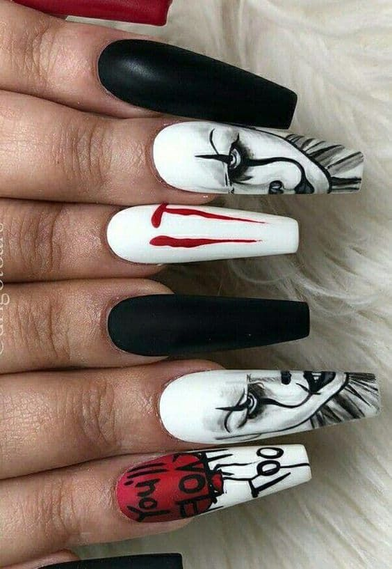 Acrylic Nails Designs Our 50 Most Eye Catching Nail Designs In 2020 Horror Nails Fake Nails Cotton Candy Nails