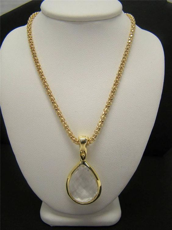 """GOLD OVER 925 STERLING SILVER 22"""" CHAIN CLEAR CRYSTAL PENDANT ENHANCER NECKLACE #Pendant"""