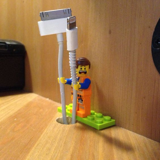 Genius home hack: use a Lego to hold all your pesky cords: