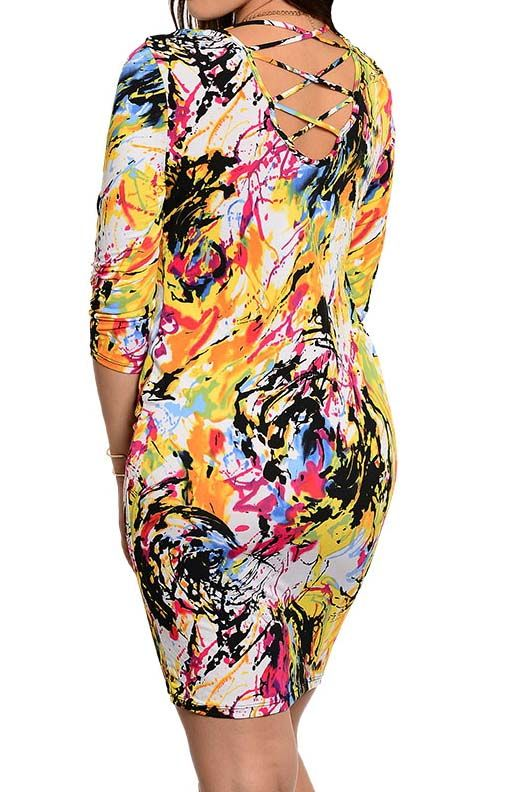 Multicolor+abstract+paint+splash+print+bodycon+dress+with+criss+cross+back+cutout+detail  polyester+spandex+material