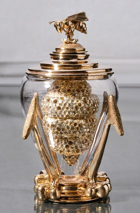 Queen Bee Honey Dipper. Beautiful craftsmanship.  The artist clearly loves her art.