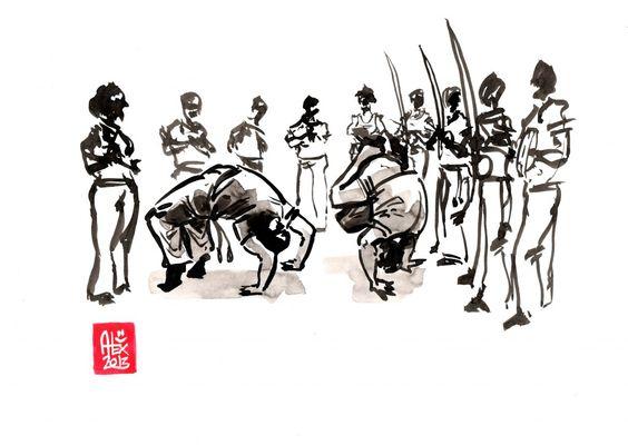 Encres : Capoeira – 478 [ #capoeira #watercolor #illustration]