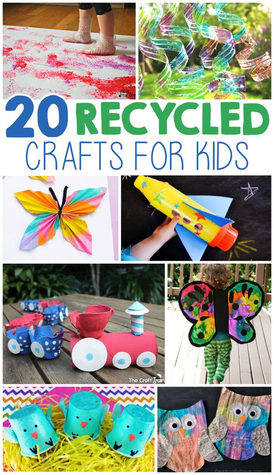 Recycled materials kids crafts and art n craft on pinterest for Art n craft from waste