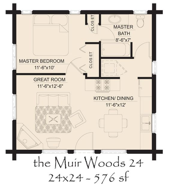 muir woods 24 log home floor plan 600—665 pixels