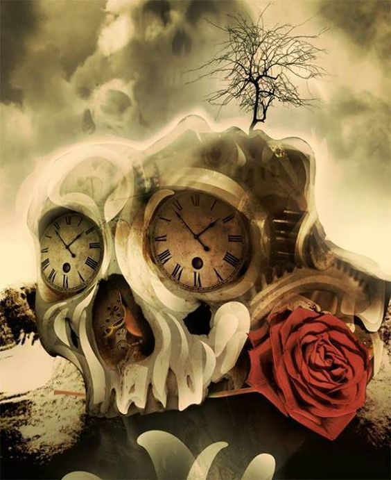 art, artistic, awesome, beautiful, clock, clouds, dead, death, draw, drawing, eternity, gray, number, red, red rose, rose, skull, time, tree
