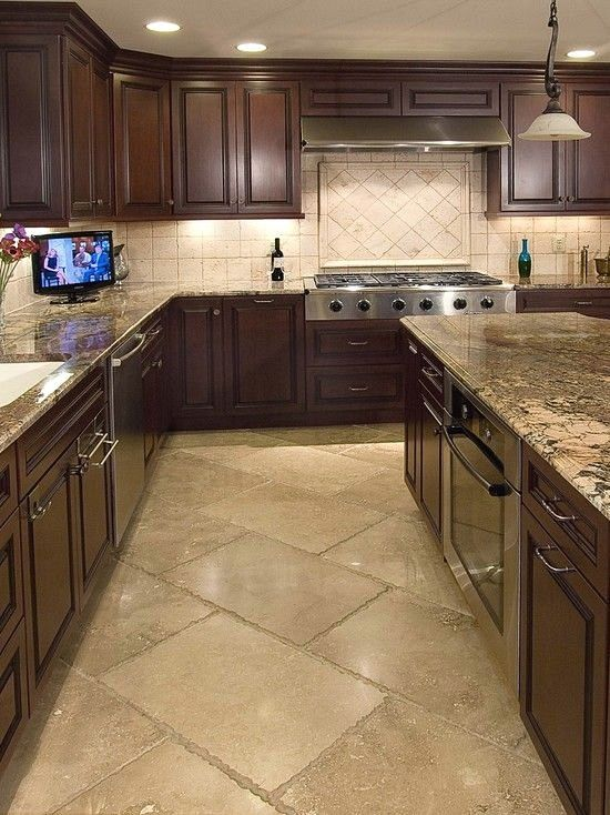 80 Alluring Kitchen Floor Ideas You Must Have 2018 Kitchen Flooring Kitchen Floor Tile Dark Kitchen Cabinets