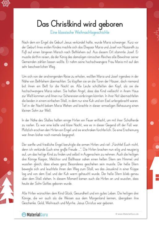 Weihnachten Kostenlose Arbeitsblatter Weihnachtsgeschichte Weihnachten Geschichte Weihnachtsgeschichte Zum Vorlesen
