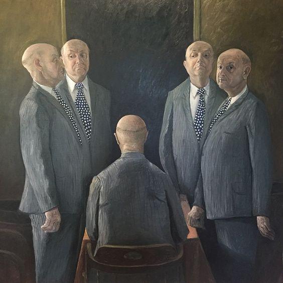 William Robinson (b.1936), Unanimous self portrait, 1993, Oil on canvas, 147.5 x 198cm