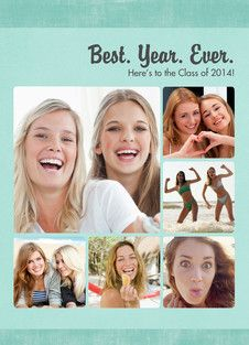 Teal Photo Grid - Year in Review Graduation Card