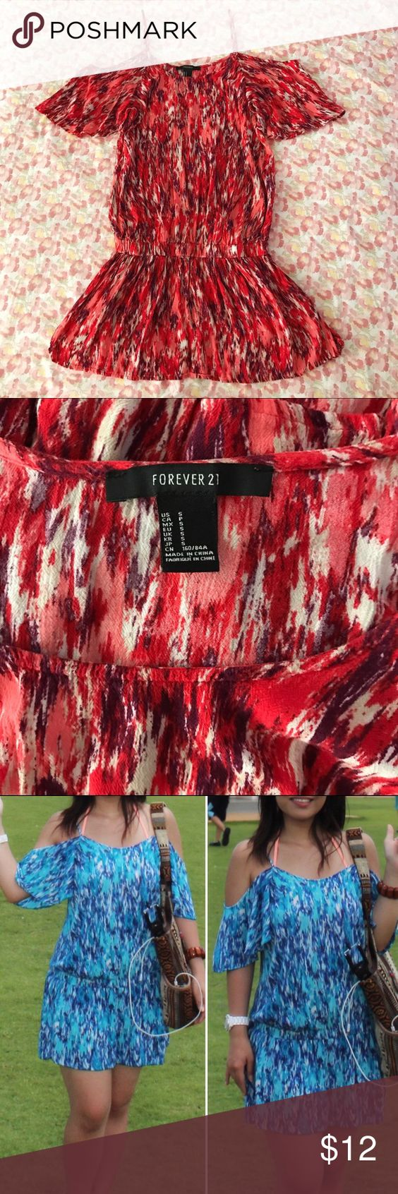 """F21 red beach tunic dress Size S (juniors 3-5, woman's 0-2) • 100% rayon • Gently worn & in excellent condition • Beautiful mix of red, purple, & white textured print, elastic at the waist, flowy cap sleeves, adjustable spaghetti straps • Reference: I'm 5'1"""" in the photo & wearing the exact same item in blue. Any questions, just ask! 👍🏻 Forever 21 Tops Tunics"""