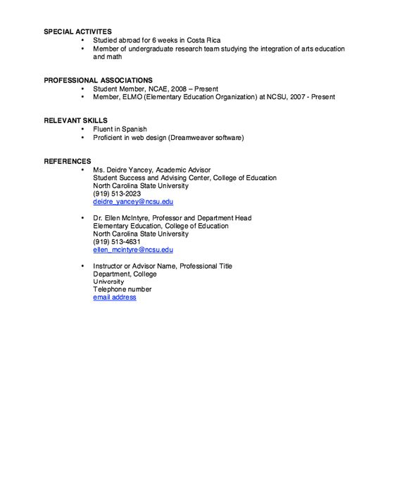 NCSU Resume Sample -    resumesdesign ncsu-resume-sample - chef resume