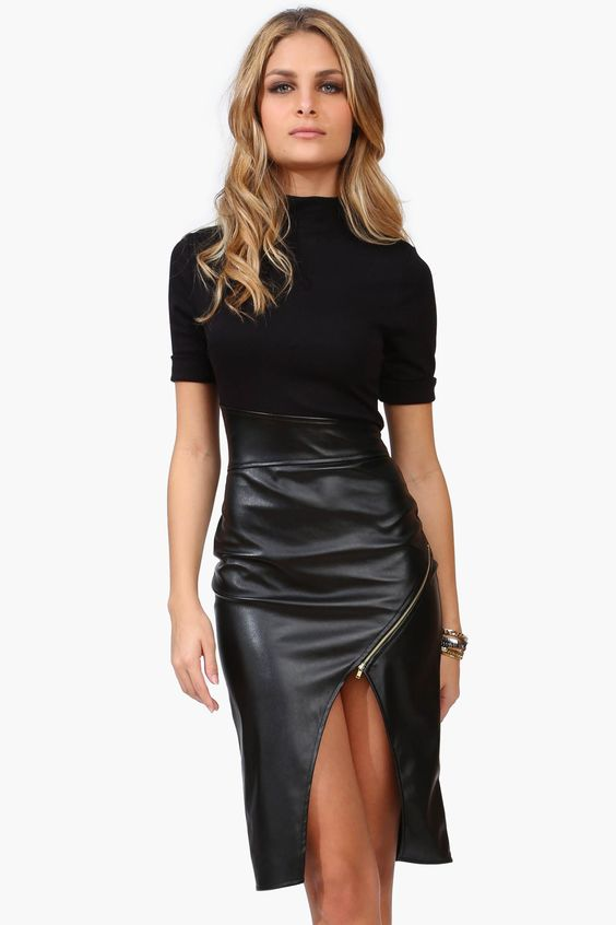 language dress has faux leather bottom with tight