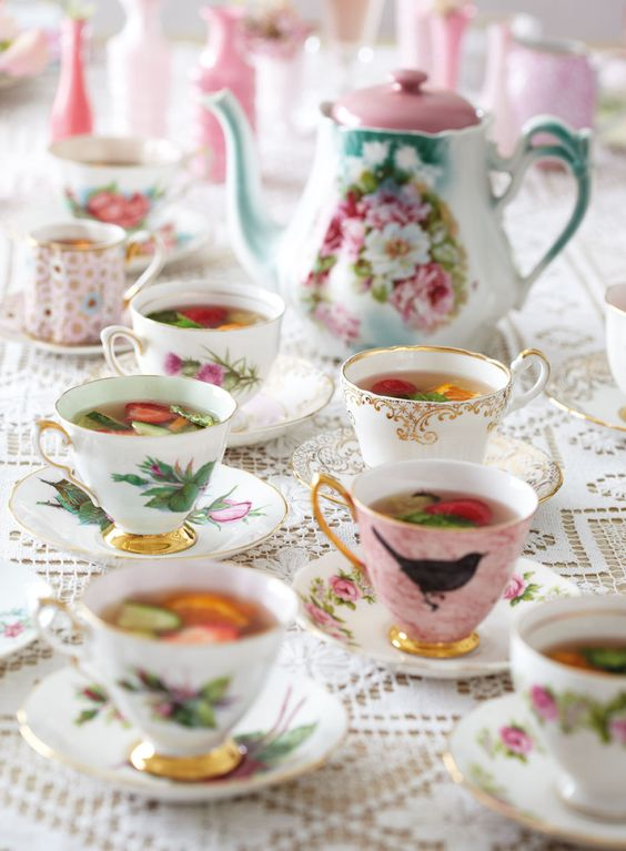 Try something quintessentially British at your wedding and serve your guests Pimm's in pretty teacups and saucers: