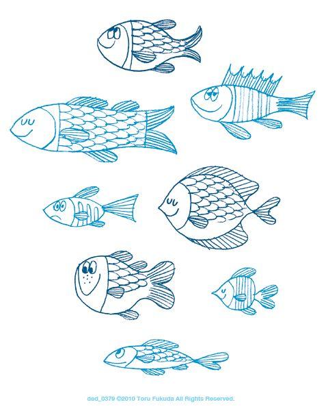 Illustrated By Toru Fukuda 魚アート 刺繍 図案 かわいい イラスト 手書き