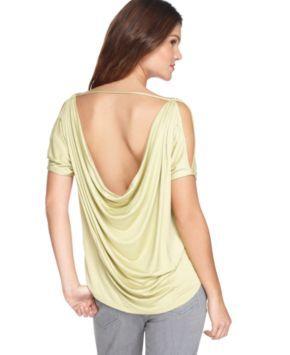 BCBGeneration Top, Scoop Neck Short Sleeve Cutout Cowl Back Asymmetrical Hem - Womens Sale & Clearance - Macy's  (simple sexy...)