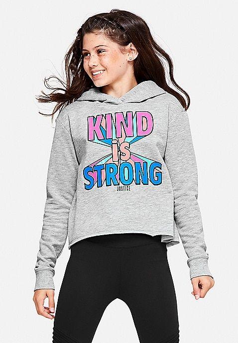 Kind Is Strong Cutoff Hoodie Justice Sweatshirts Hoodie Sweatshirts Girls Tshirts