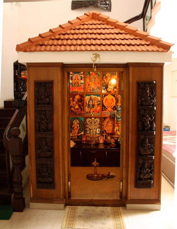 Pooja Room Design. Home Mandir. Lamps. Doors. Vastu. Idols