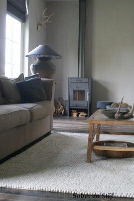 Mooie landelijke stijl met houtkachel interieur pinterest rustiek bos en thuis - Decoratie kamer thuis woonkamer ...